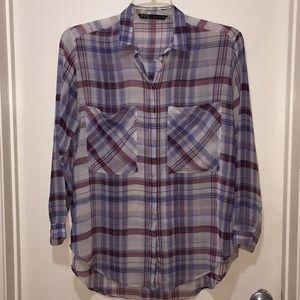Zara Basic Plaid Long Sleeves Button Down Shirt